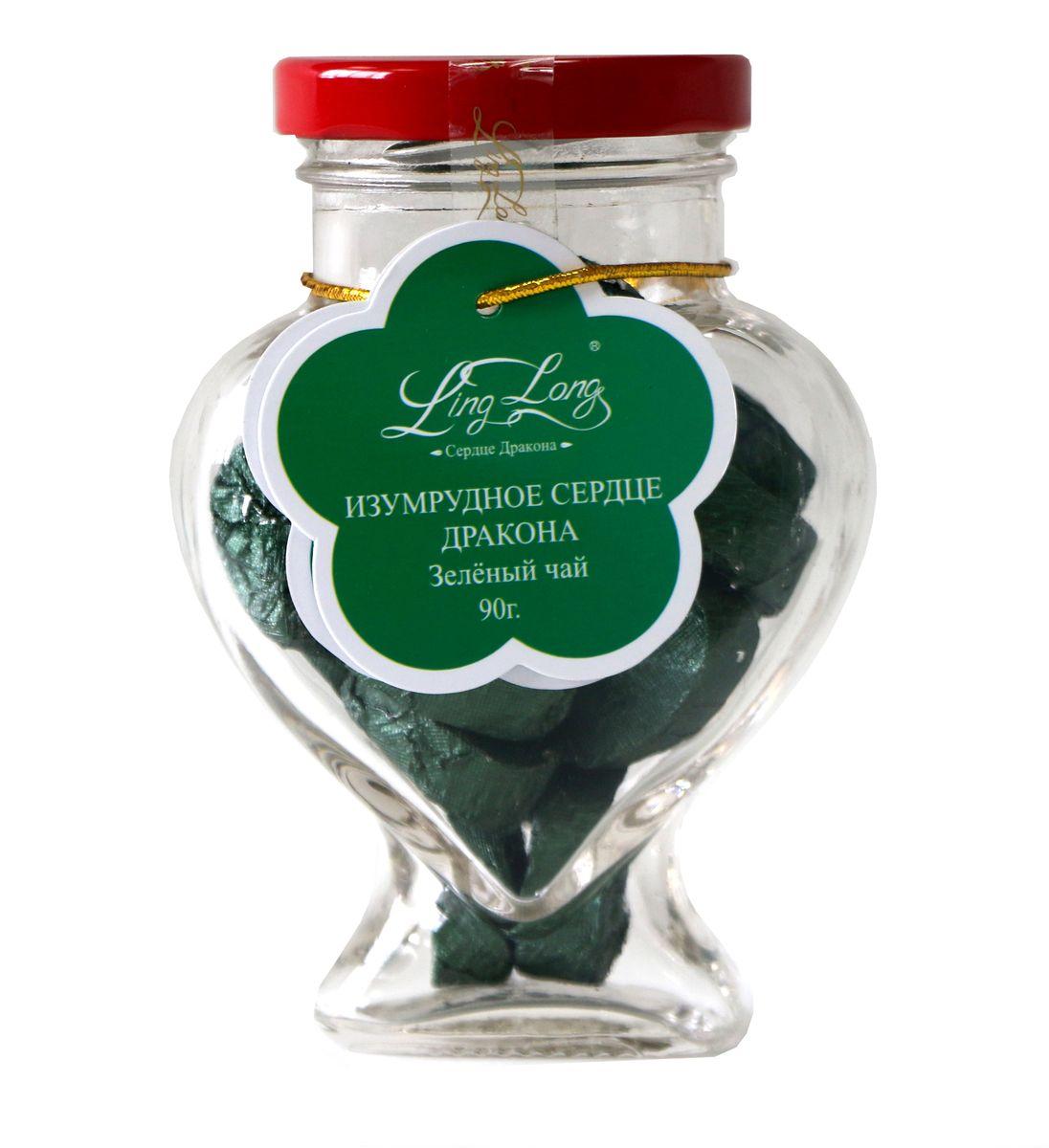Ling Long Изумрудное сердце дракона зеленый листовой чай, 90 г (стеклянная банка)