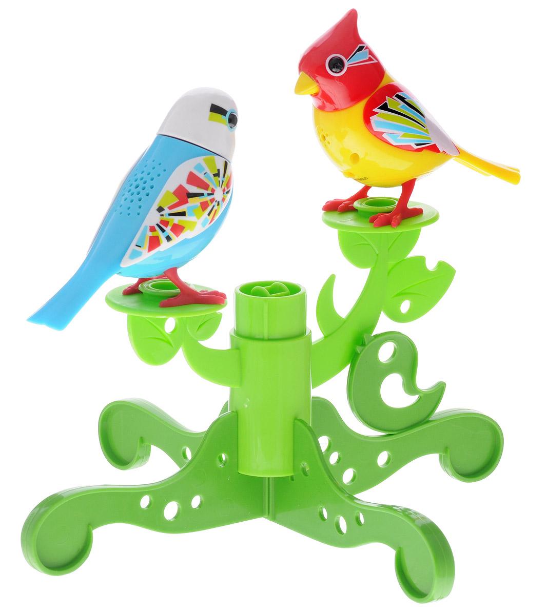 DigiFriends Интерактивная игрушка Две птички с деревом цвет голубой желтый silverlit две птички с деревом зелено голубые digibirds