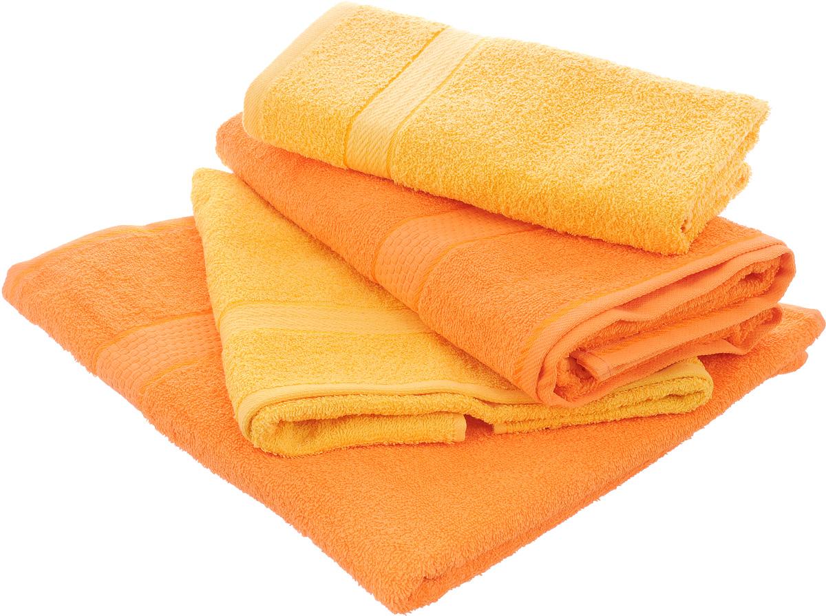 """Набор махровых полотенец """"Aisha Home Textile"""", цвет: желтый, оранжевый, 4 шт"""
