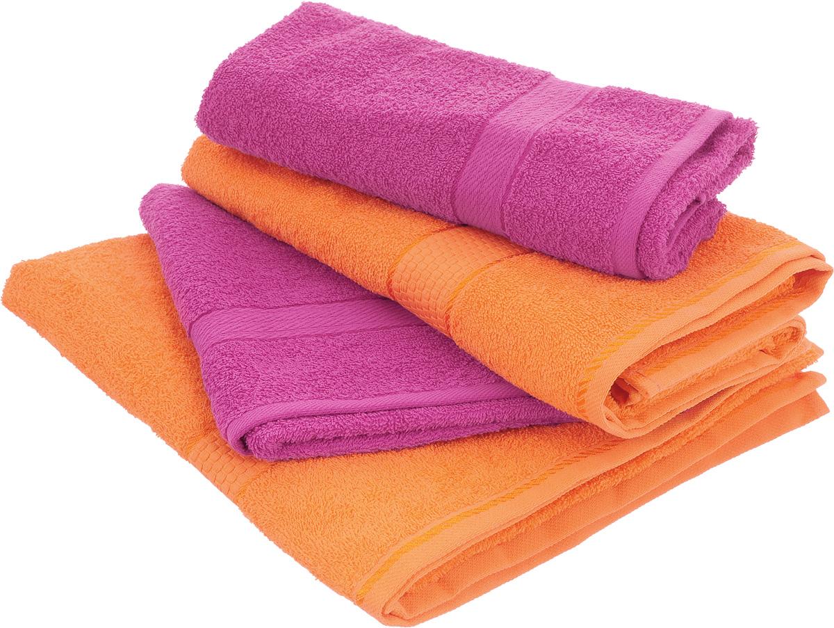 """Набор махровых полотенец """"Aisha Home Textile"""", цвет: оранжевый, малиновый, 4 шт"""