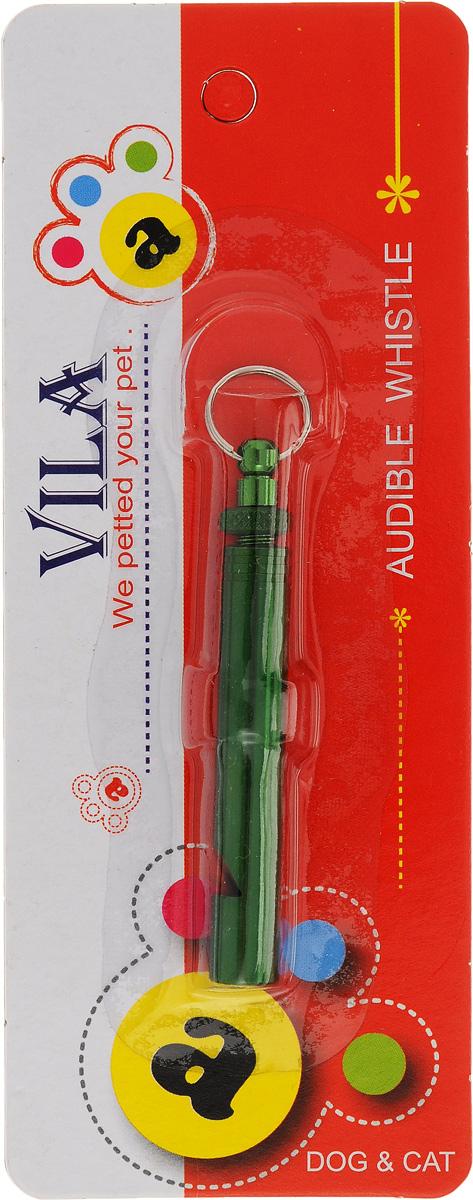 """Свисток для собак """"Vila"""", ультразвуковой, цвет: зеленый, длина 6 см"""
