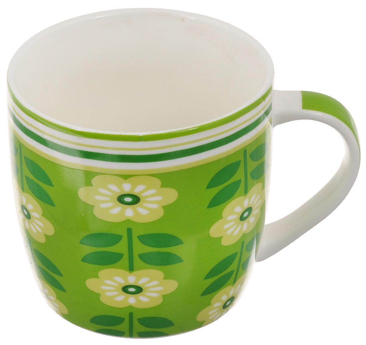 Кружка Loraine Цветы, цвет: зеленый, салатовый, белый, 320 мл кружка loraine цвет белый красный голубой 320 мл 24484