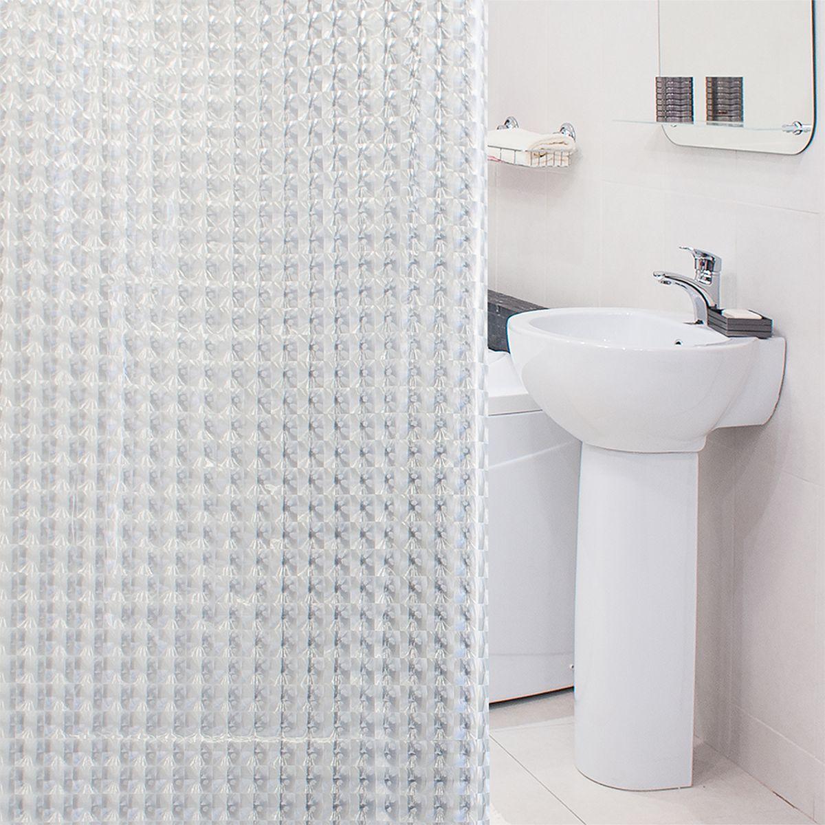 Фото - Штора для ванной комнаты 3D Tatkraft Crystal, с кольцами, 180 х 180 см шторка для ванной tatkraft seagull цвет белый синий 180 см х 180 см