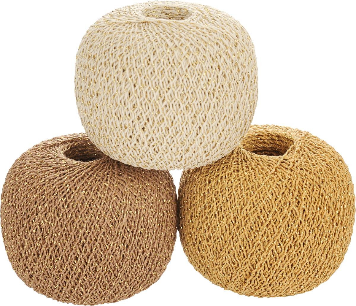 """Нитки вязальные """"Золотые шары"""", комбинированные, цвет: бежевый, оранжевый, коричневый, 390 м, 50 г, 3 шт"""