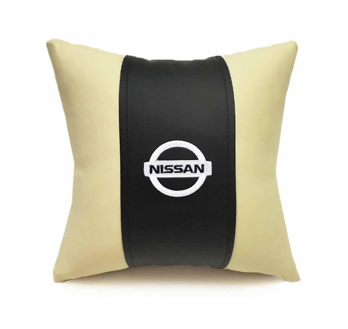 Подушка декоративная Auto Premium Nissan, цвет: черный, бежевый подушка на подголовник auto premium nissan цвет бежевый 37583