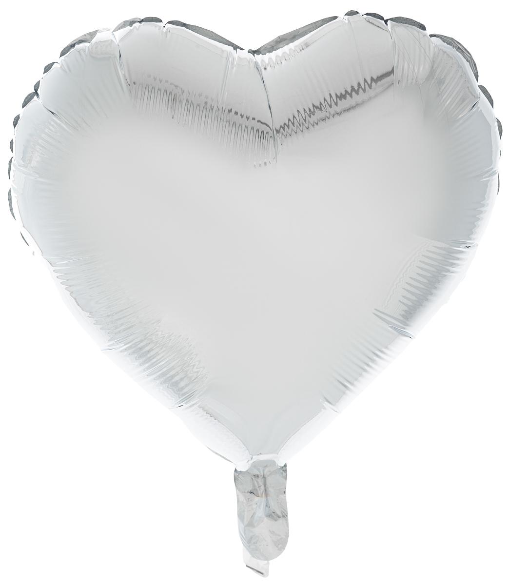 Action! Шар фольгированный Сердце цвет серебристый