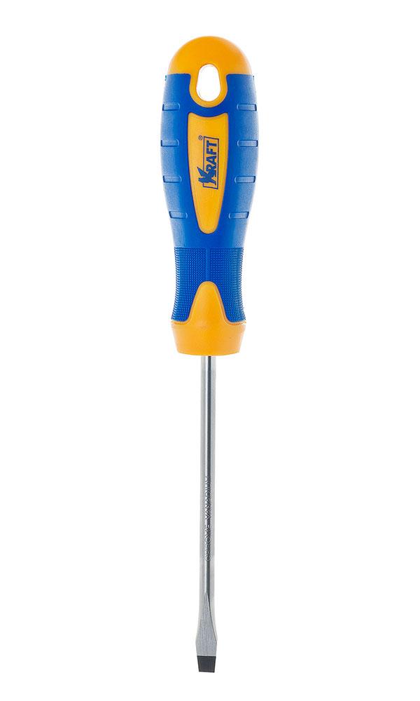 Отвертка шлицевая Kraft 6х100 КТ 700413 отвертка шлицевая rexant sl 5 х 100 мм двухкомпонентная рукоятка