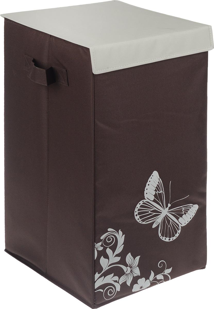 Корзина для белья Hausmann Бабочка, складная, 35 x 35 x 64 см корзина для белья tatkraft monako угловая цвет коричневый 35 см х 35 см х 50 см