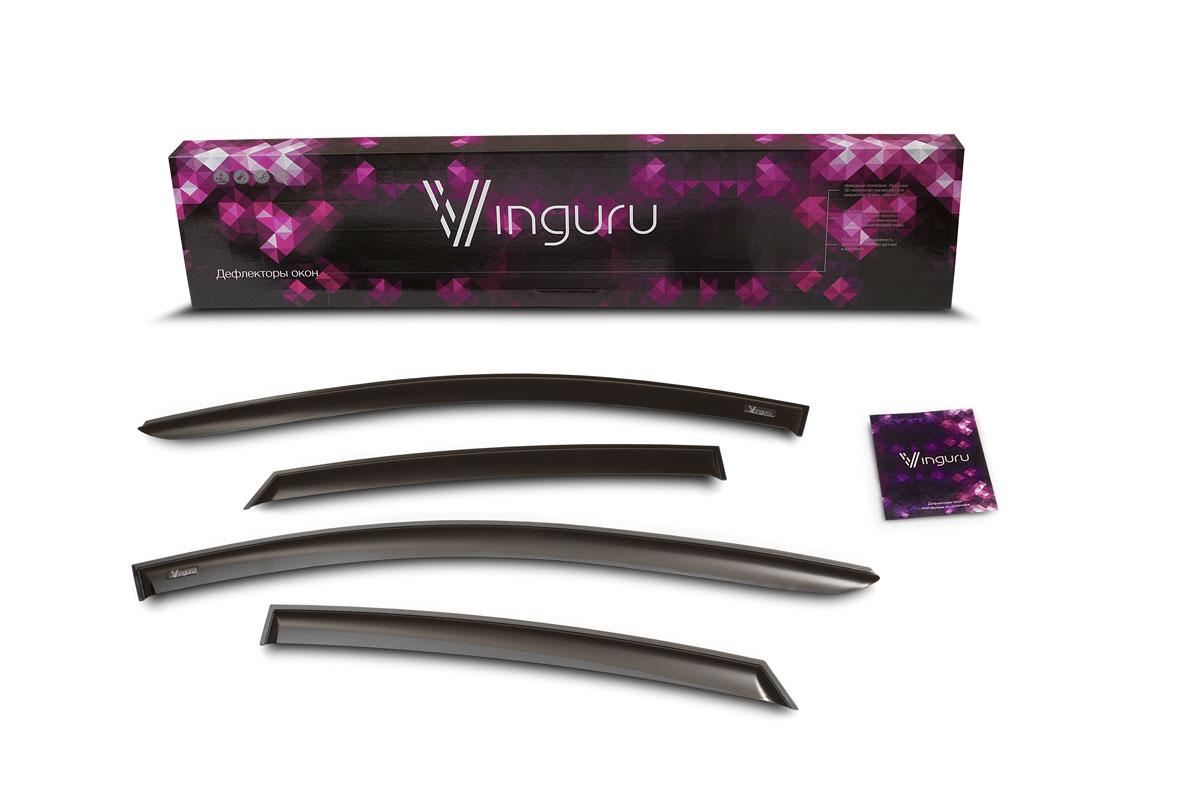 Комплект дефлекторов Vinguru, накладные, для Volkswagen Polo 2010- седан, 4 шт комплект дефлекторов vinguru накладные скотч для hyundai elantra md 2010 седан 4 шт