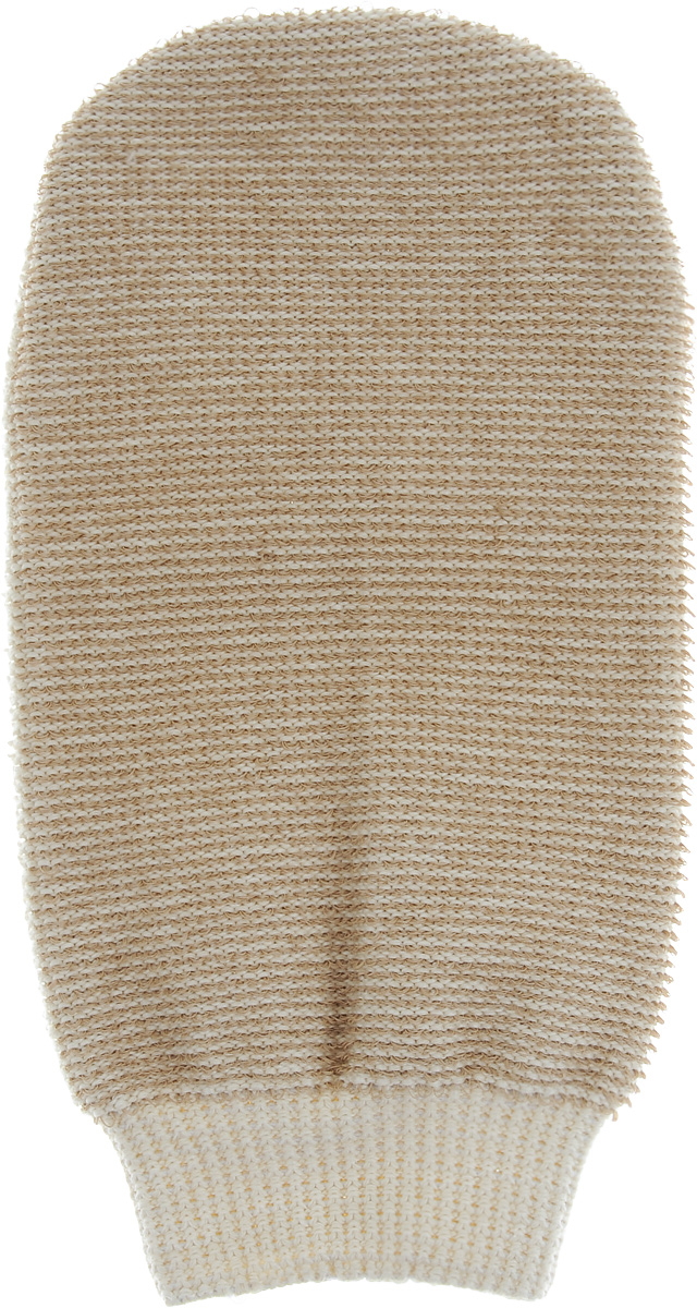 Мочалка-рукавица массажная Riffi, двухсторонняя, цвет: бежевый, 22 х 13 см мочалка рукавица riffi мягкая цвет бежевый