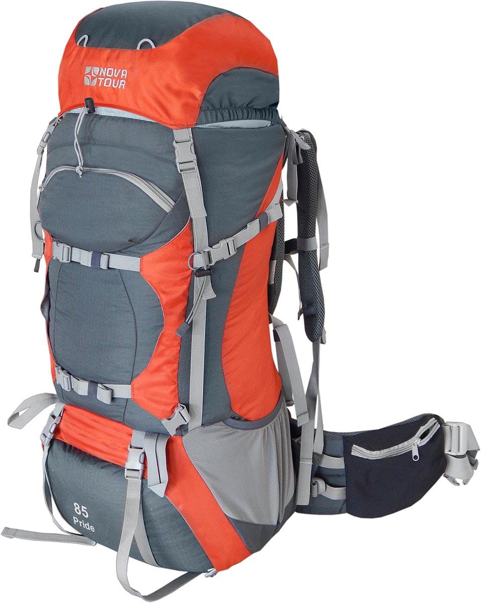 Рюкзак экспедиционный Nova Tour Прайд 85, цвет: серый, терракотовый, 90 л