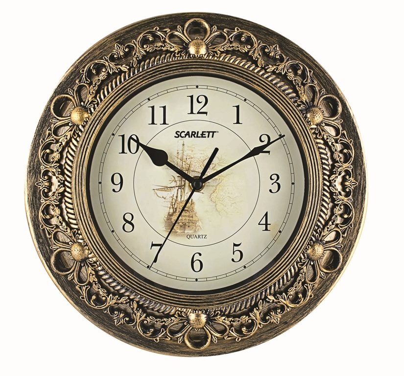 Часы настенные Scarlett, диаметр 30,5 см. SC - 27C цена