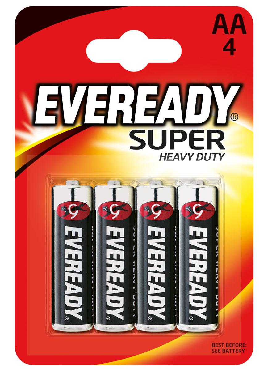 Батарейка Eveready Super, тип AA, 1,5V, 4 шт energizer батарейка солевая eveready r14 тип c 2шт