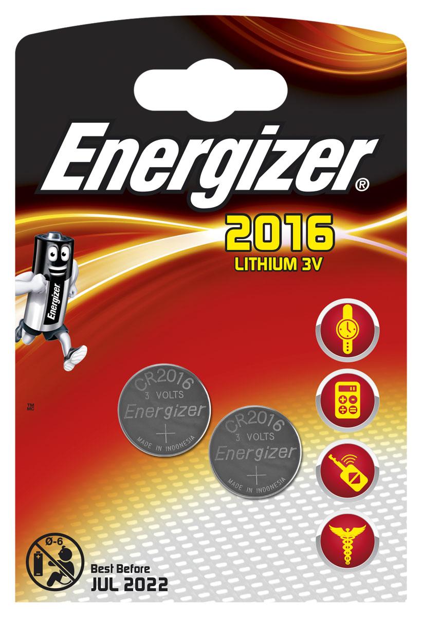 Батарейка Energizer Lithium, тип CR2016, 3V, 2 шт батарейка cr2032 energizer lithium cr2032 3v 4 штуки