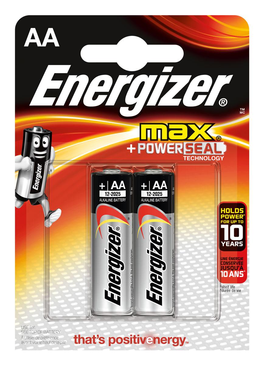 Батарейка Energizer Max, тип АА/LR6, 1,5 V, 2 шт батарейка energizer e 23a bl1