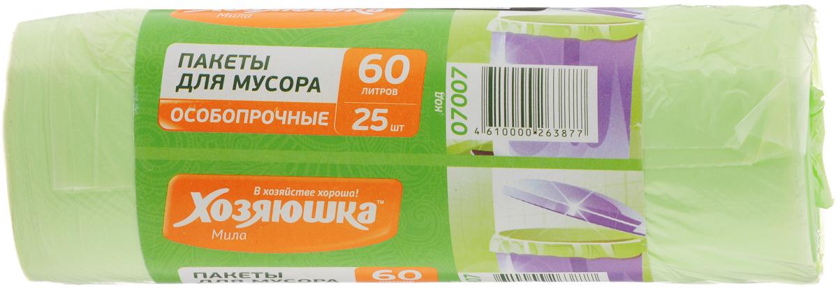 Пакеты для мусора Хозяюшка Мила, особо прочные, 60 л, 25 шт цена
