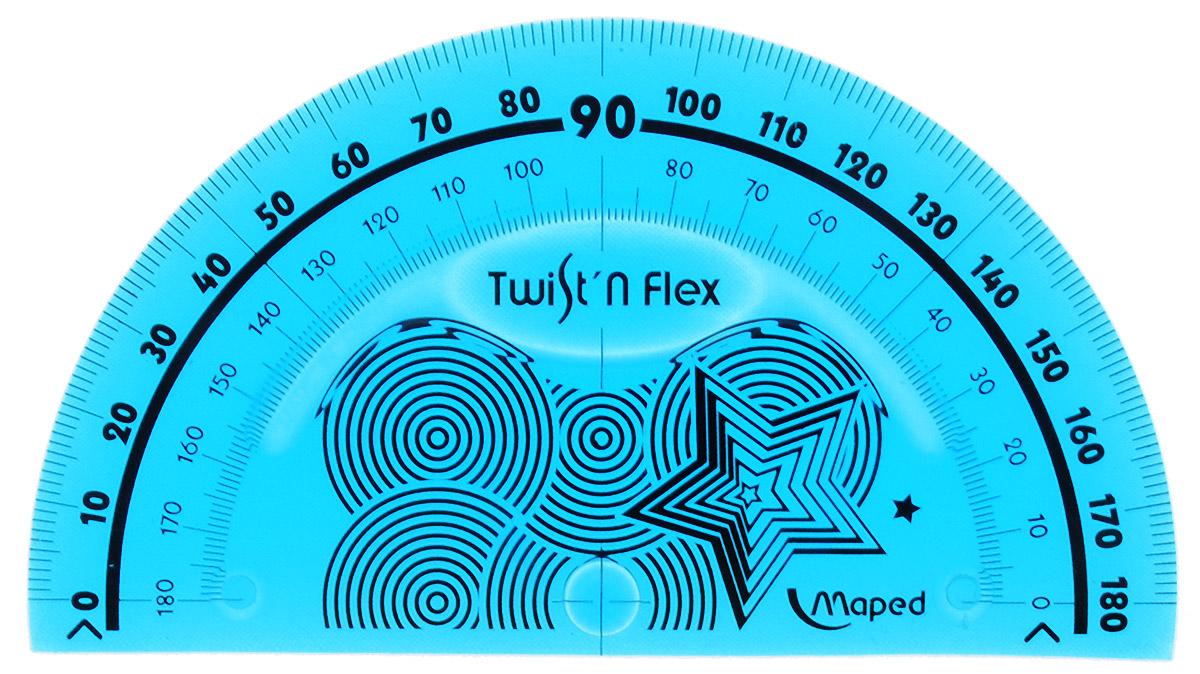 Транспортир Maped Twist-n-flex неломающийся 10 см цвет морская волна линейка maped twist n flex неломающаяся цвет голубой 20 см