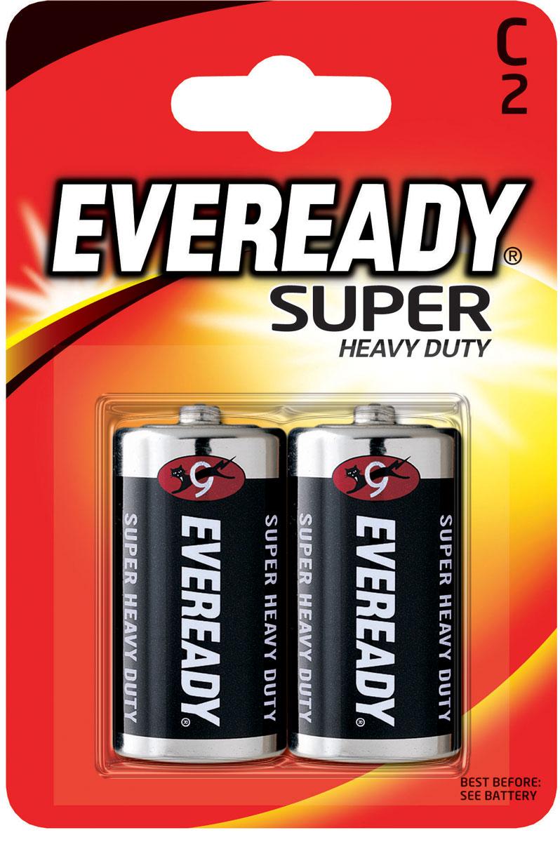Батарейка солевая Eveready Super Heavy Duty, тип С-R14, 1,5V, 2 шт energizer батарейка солевая eveready r14 тип c 2шт