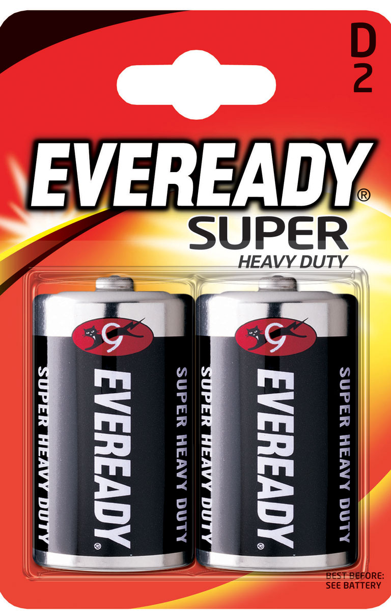 Батарейка солевая Eveready Super Heavy Duty, тип D-R20, 1,5V, 2 шт батарейка солевая proconnect тип d r20 2 шт