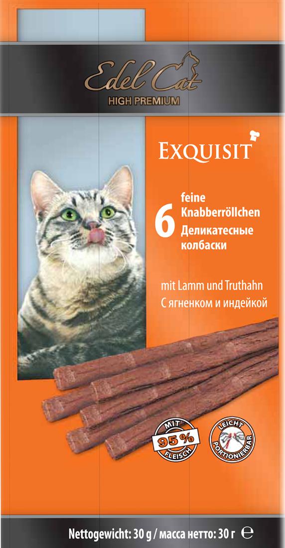 Лакомство для кошек Edel Cat, деликатесные колбаски, с ягненком и индейкой, 6 шт edel dog edel dog колбаски курица