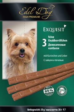 Колбаски жевательные Edel Dog для собак, с зайцем и печенью, 3 шт edel dog edel dog колбаски курица