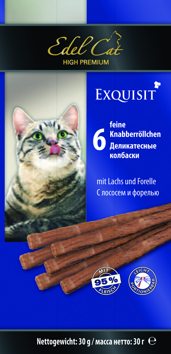 Колбаски жевательные Edel Cat, с лососем и форелью, 6 шт edel dog edel dog колбаски курица