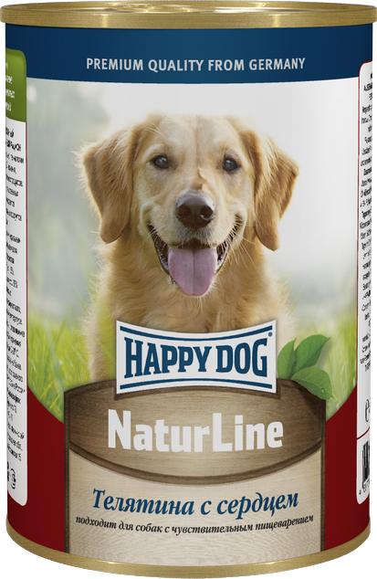Консервы для собак Happy Dog Natur Line, телятина с сердцем, 400 г консервы happy dog natur line кролик для собак 85г 71499