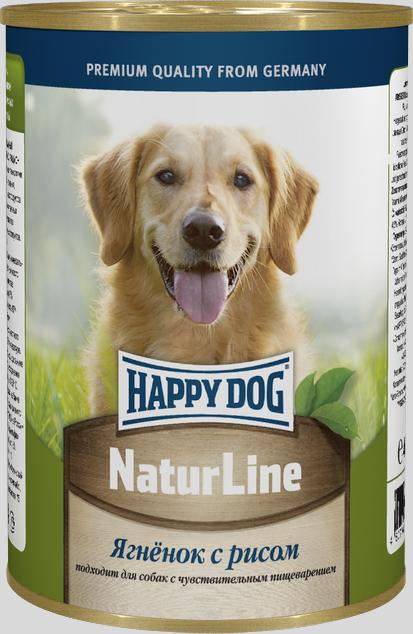 Консервы для собак Happy Dog Natur Line, ягненок с рисом, 400 г консервы happy dog natur line кролик для собак 85г 71499