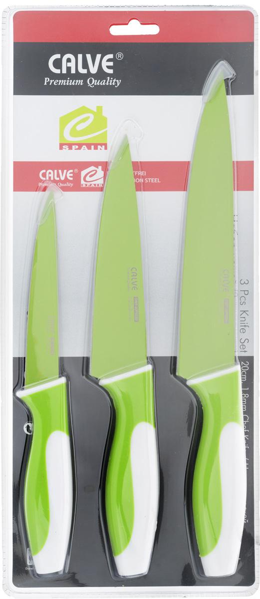 Набор ножей Calve, цвет: салатовый, белый, 3 предмета. CL-3107 набор ножей calve цвет оранжевый белый 3 предмета cl 3106