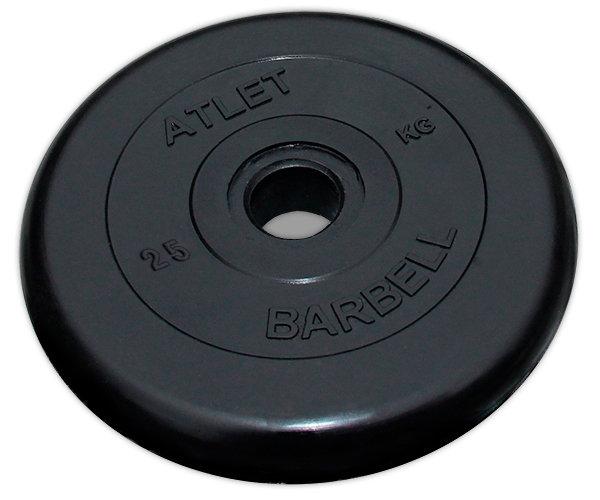 цена на Диск обрезиненный MB Barbell Atlet 51 мм, черный 25 кг