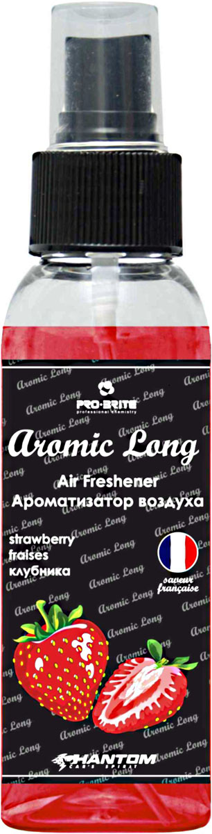 Ароматизатор воздуха автомобильный Phantom Aromic Long, клубника, спрей 100 мл ароматизатор phantom voyage цветочно океанический