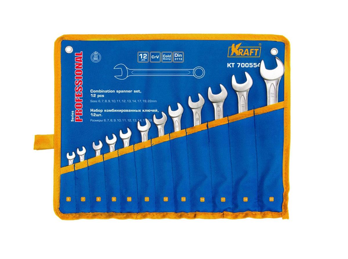 Набор комбинированных гаечных ключей Kraft Professional, 6 мм - 22 мм, 12 шт набор комбинированных гаечных ключей 12 шт курс 63418 6 22 мм