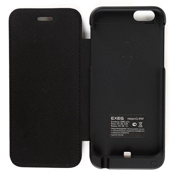 EXEQ HelpinG-iF09, Black чехол-аккумулятор для iPhone 6 (3300 мАч, флип-кейс)