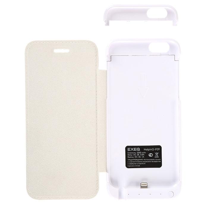 EXEQ HelpinG-iF09, White чехол-аккумулятор для iPhone 6 (3300 мАч, флип-кейс)