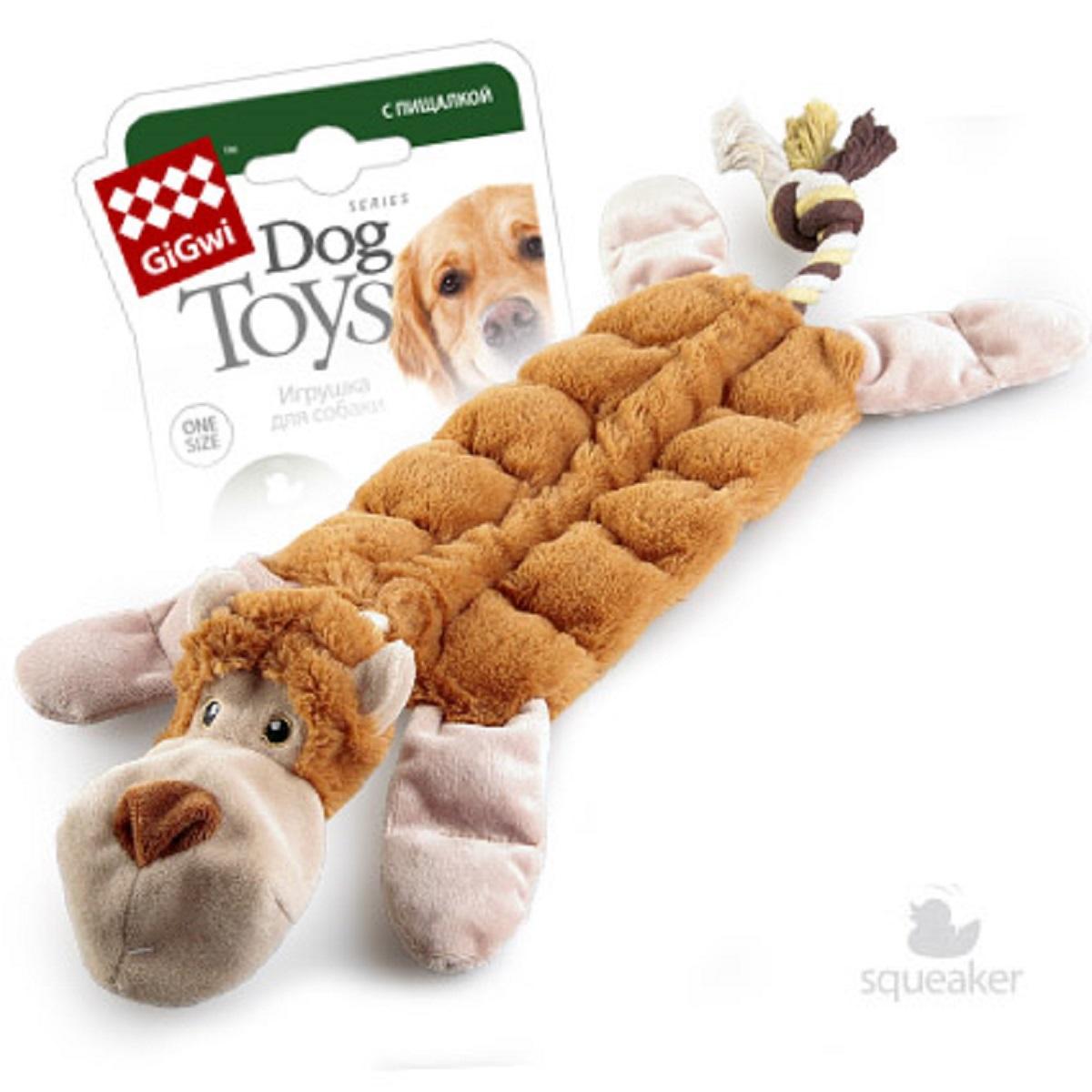 """Игрушка для собак GiGwi """"Обезьяна"""", с пищалками, 34 см"""