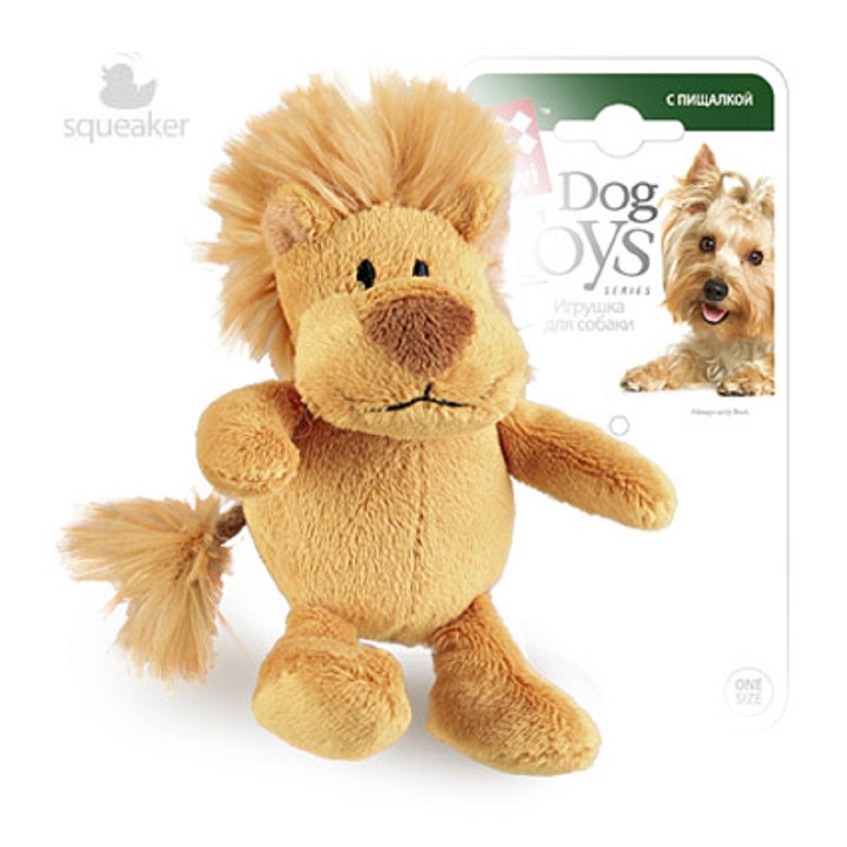 """Игрушка для собак GiGwi """"Лев"""", с пищалкой, 10 см"""
