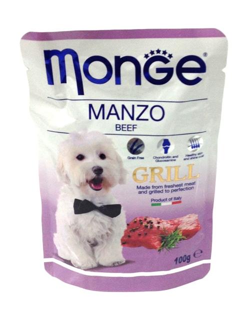 Паучи для собак Monge Dog Grill Pouch, с говядиной, 100 г цена