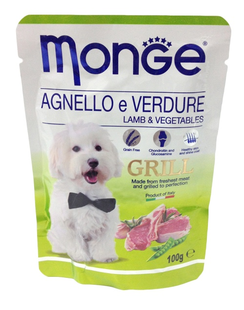 Паучи для собак Monge Dog Grill Pouch, ягненок с овощами, 100 г цена