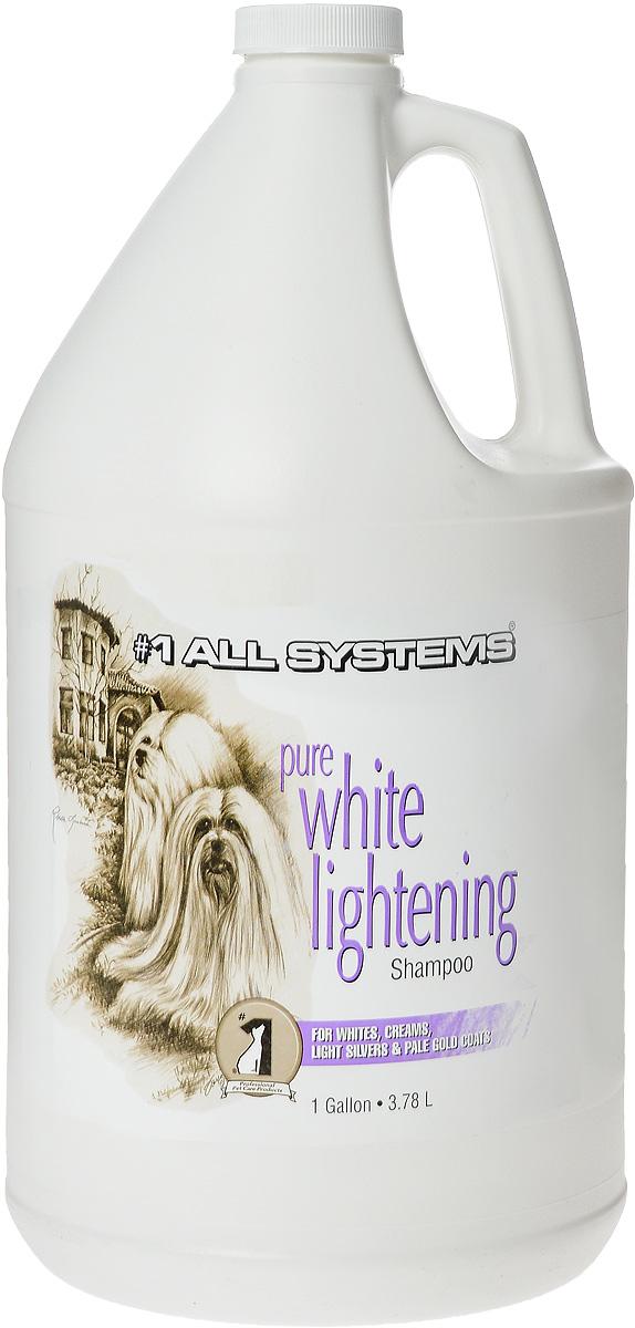 Шампунь для собак и кошек 1 All Systems Pure White Lightening, осветляющий, 3,78 л антистатик для собак и кошек 1 all systems hair re vitalaizer 250 мл