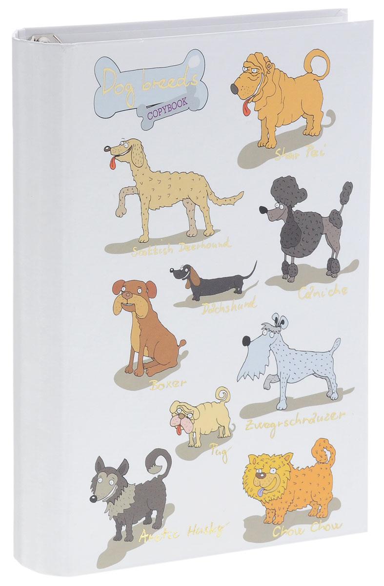 Listoff Тетрадь на кольцах Забавные собаки 120 листов в клетку listoff тетрадь с разделителями 120 листов в клетку цвет темно красный