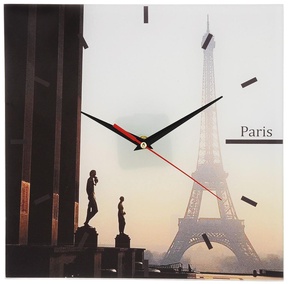 Часы настенные Paris, стеклянные, цвет: мульти. 9530195301Оригинальные настенные часы Paris выполнены из стекла и оформлены изображением Парижа. Часы имеют три стрелки - часовую, минутную и секундную. Циферблат часов не защищен. Необычное дизайнерское решение и качество исполнения придутся по вкусу каждому. Оформите совой дом таким интерьерным аксессуаром или преподнесите его в качестве презента друзьям, и они оценят ваш оригинальный вкус и неординарность подарка. Характеристики: Материал: пластик, стекло. Размер: 28 см x 28 см x 2 см. Размер упаковки: 30 см х 30 см х 4,5 см. Артикул: 95301. Работают от батарейки типа АА (в комплект не входит). Рекомендуем!