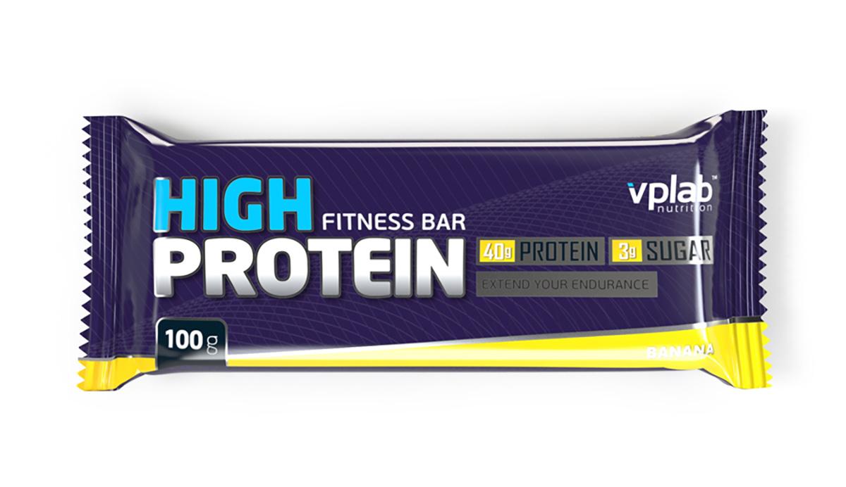 Батончик протеиновый Vplab High Protein Fitness Bar, банан, 100 г цена