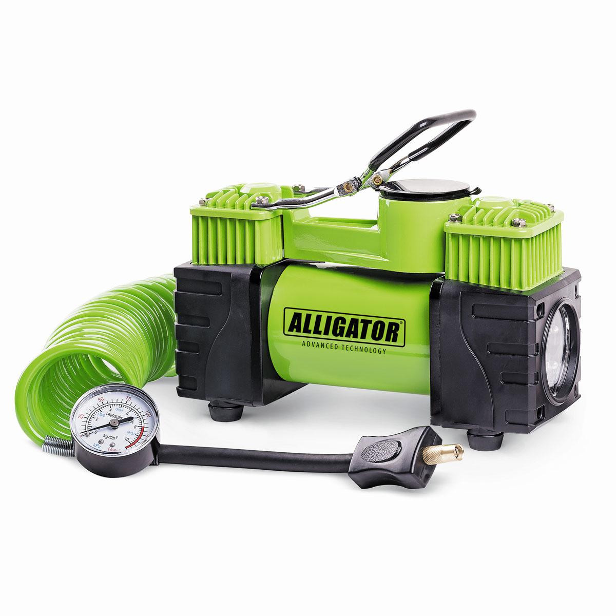 Компрессор автомобильный ALLIGATOR AL-500, двухпоршневой, 12В, 220 Вт автомобильный компрессор аллигатор al 350