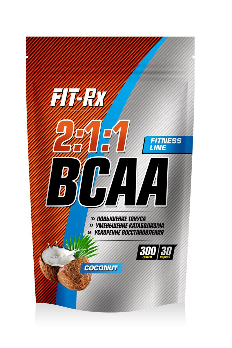 Комплекс аминокислот FIT-RX BCAA 2:1:1, кокос, 300 г комплекс аминокислот fit rx bcaa 2 1 1 фруктовый пунш 300 г