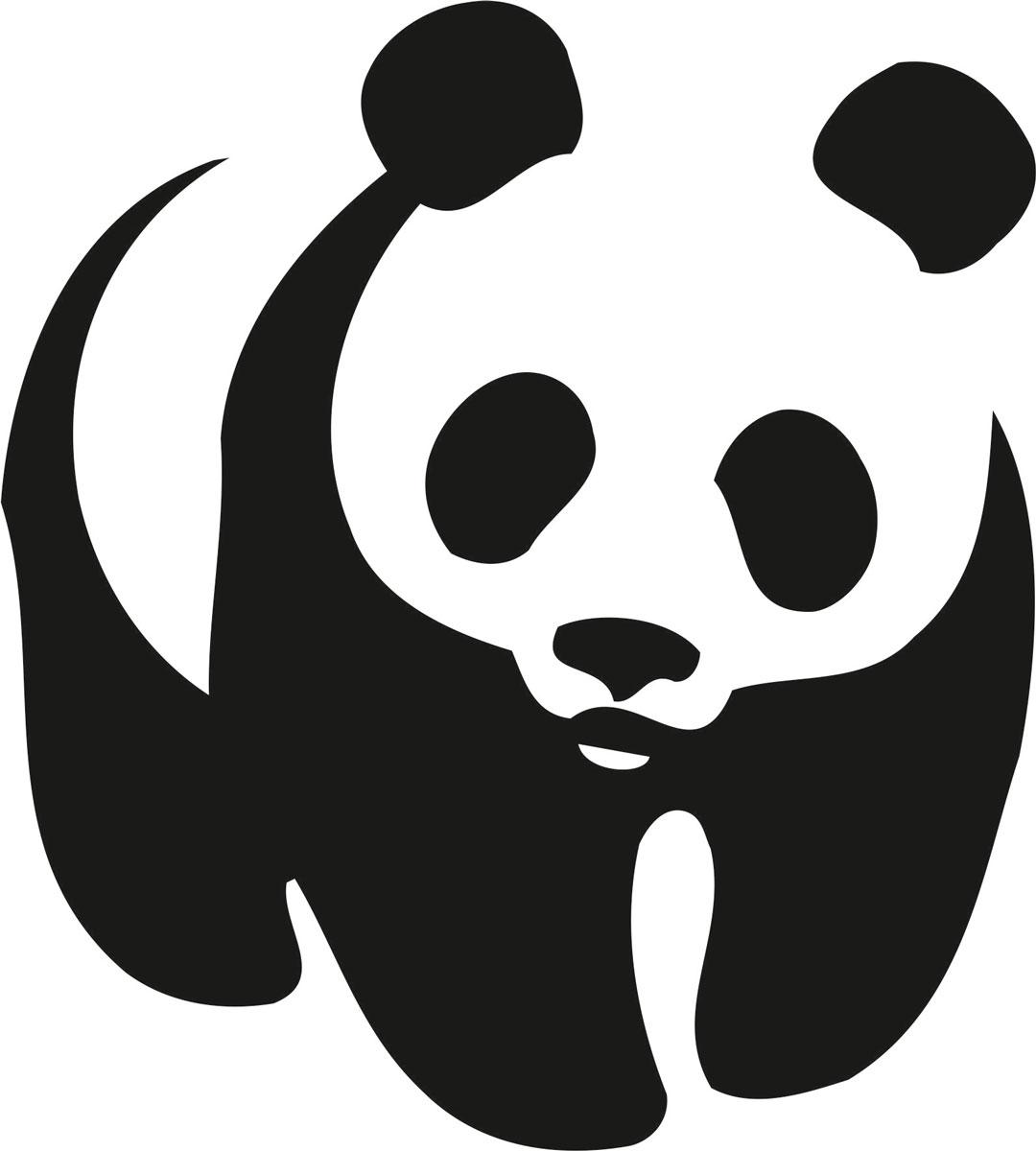 Наклейка автомобильная Оранжевый слоник Панда, виниловая, цвет: черный наклейка автомобильная оранжевый слоник охота рыбалка виниловая цвет черный