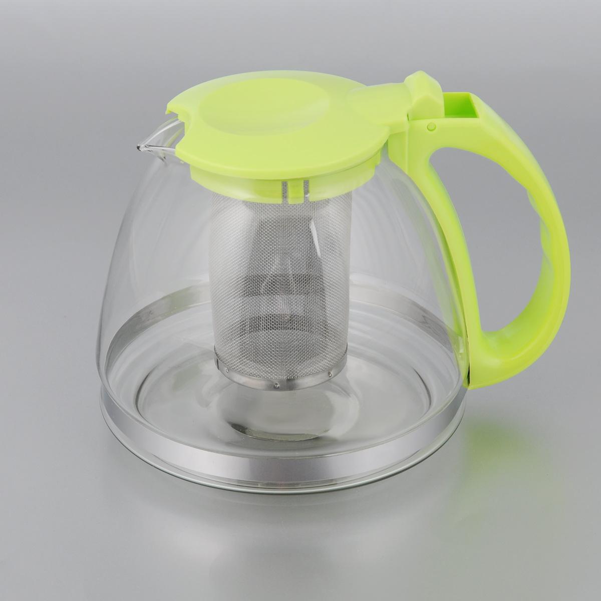 Чайник заварочный МФК-профит, с фильтром, цвет: светло-зеленый, 1,3 л чайник заварочный мфк профит белла 900 мл