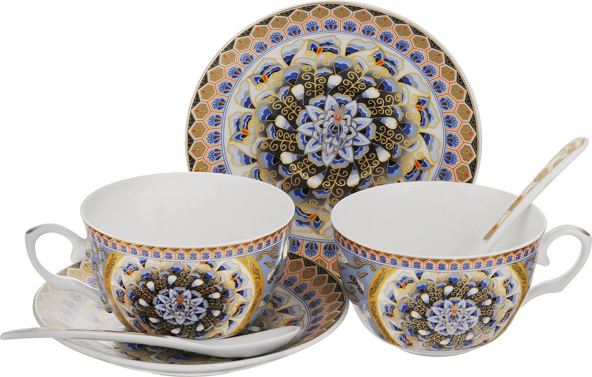 Набор чайных пар Elan Gallery Калейдоскоп, с ложками, 6 предметов соусник elan gallery листок 15 7 5 2 5 см 2 секции