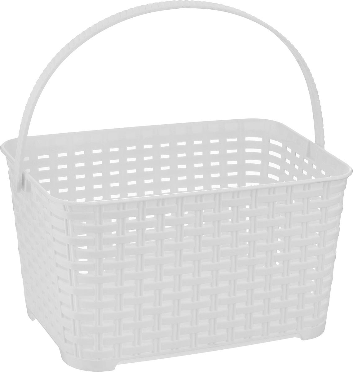 Корзина Альтернатива Плетенка, с ручкой, цвет: белый, 3 л ершик для туалета альтернатива плетенка белый