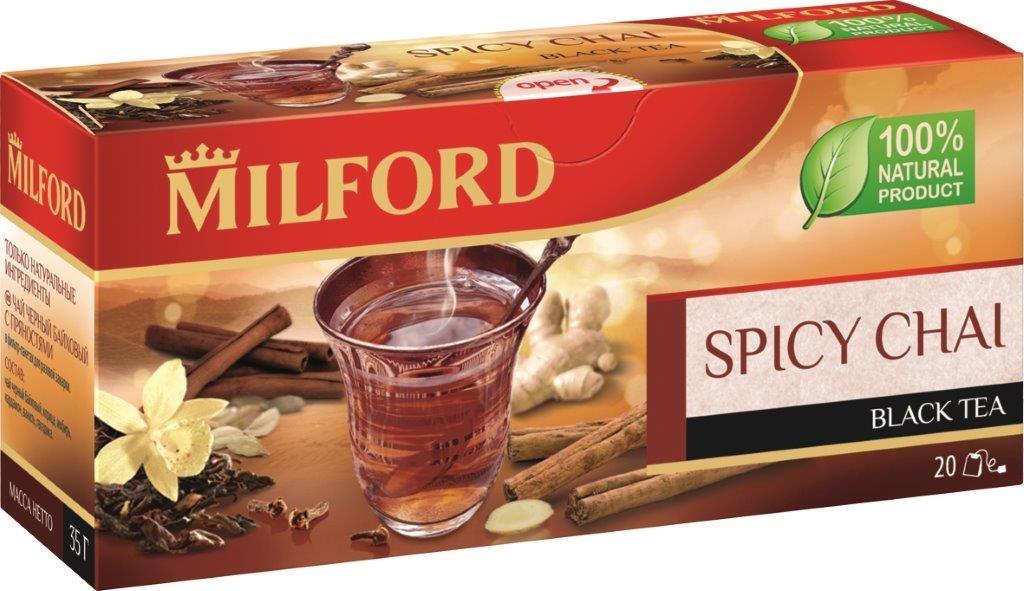 Milford черный чай с пряностями в пакетиках, 20 шт erbatamin плантация рая травяной чай с пряностями 80 г