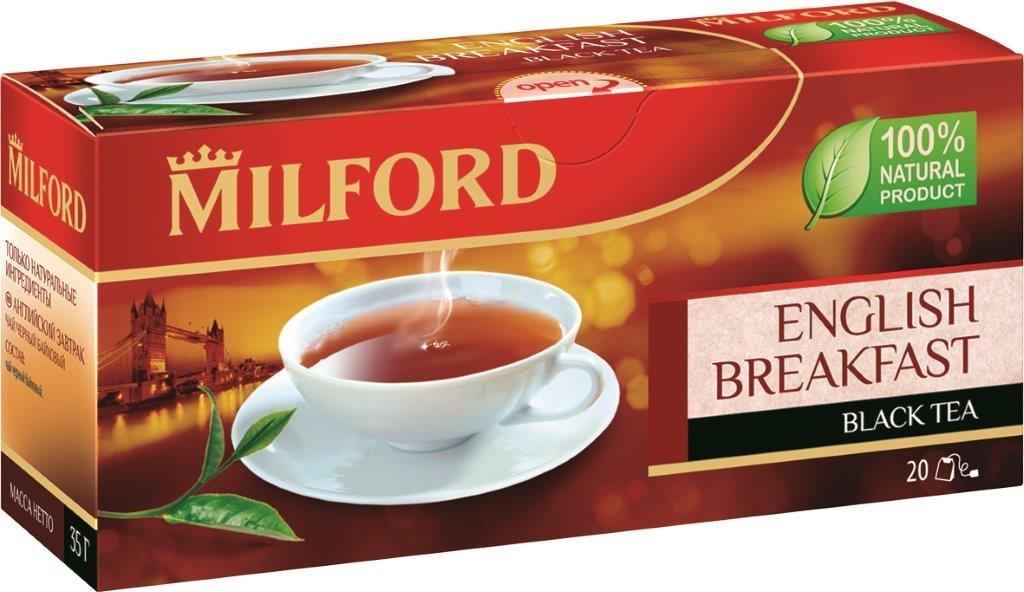 Milford Английский завтрак черный чай в пакетиках, 20 шт чай eilles английский завтрак био черный 20 пакетиков пирамидок